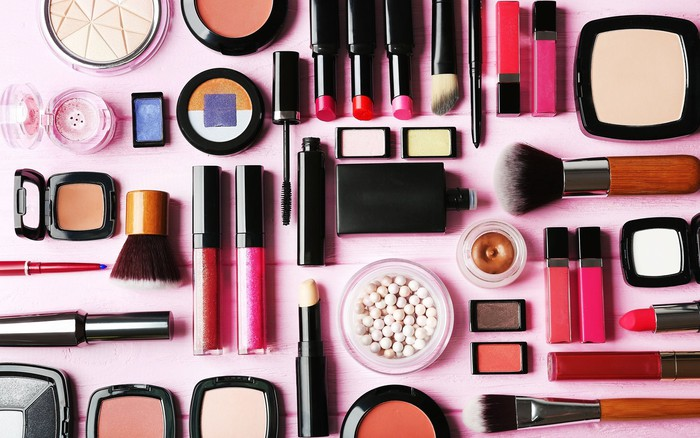 A broad selection of cosmetic products.