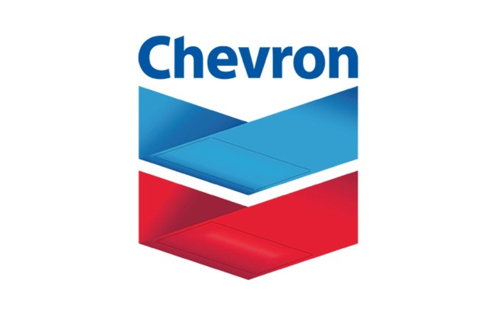 Chevron logo in blue, red, and white.