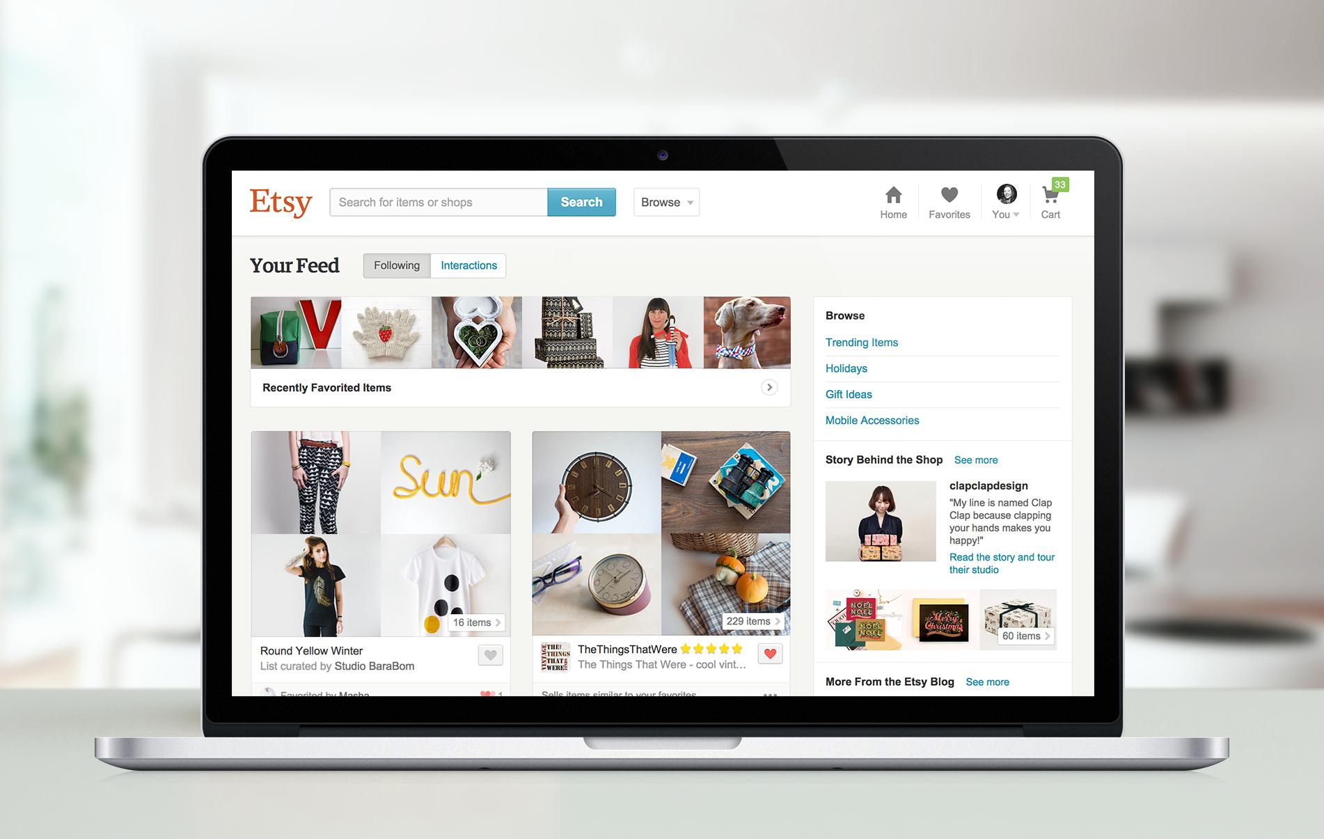 Etsy website displayed on a laptop