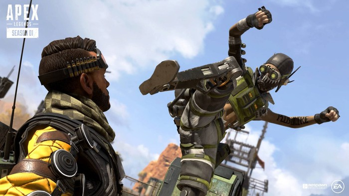 Characters from Electronic Arts' new Apex Legends game are shown fighting