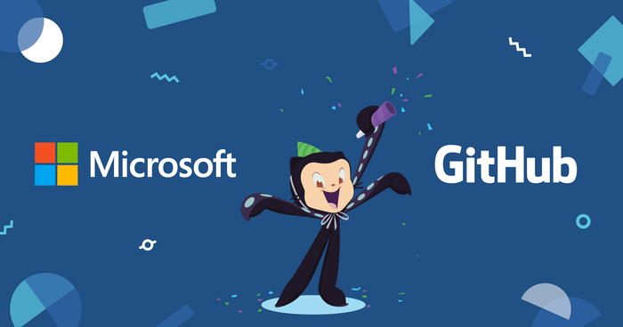 A rendering of the GitHub Octocat mascot surrounded by the Microsoft and GitHub logos