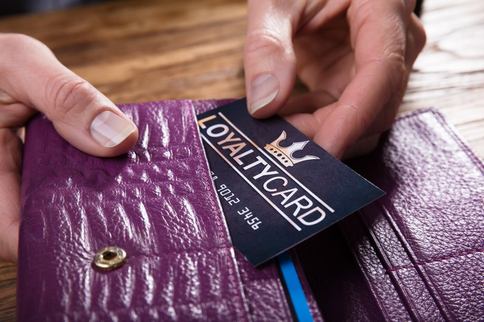Person taking a loyalty card out of a wallet