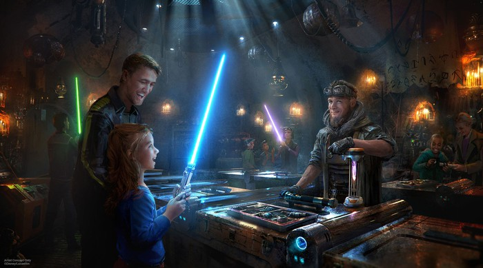 Customers checking out light sabres in concept art.