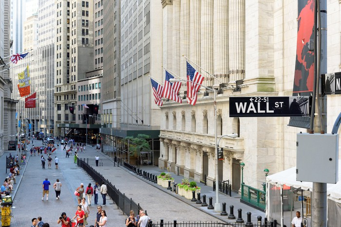 Wall St. by the New York Stock Exchange