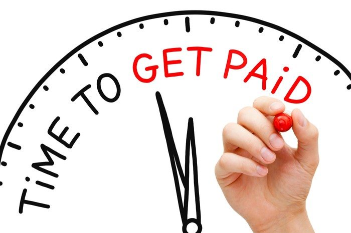 "A hand holding a red marker next to part of an image of a clock, with the words ""Time to Get Paid"" on it -- and the words ""Get Paid"" are in red."