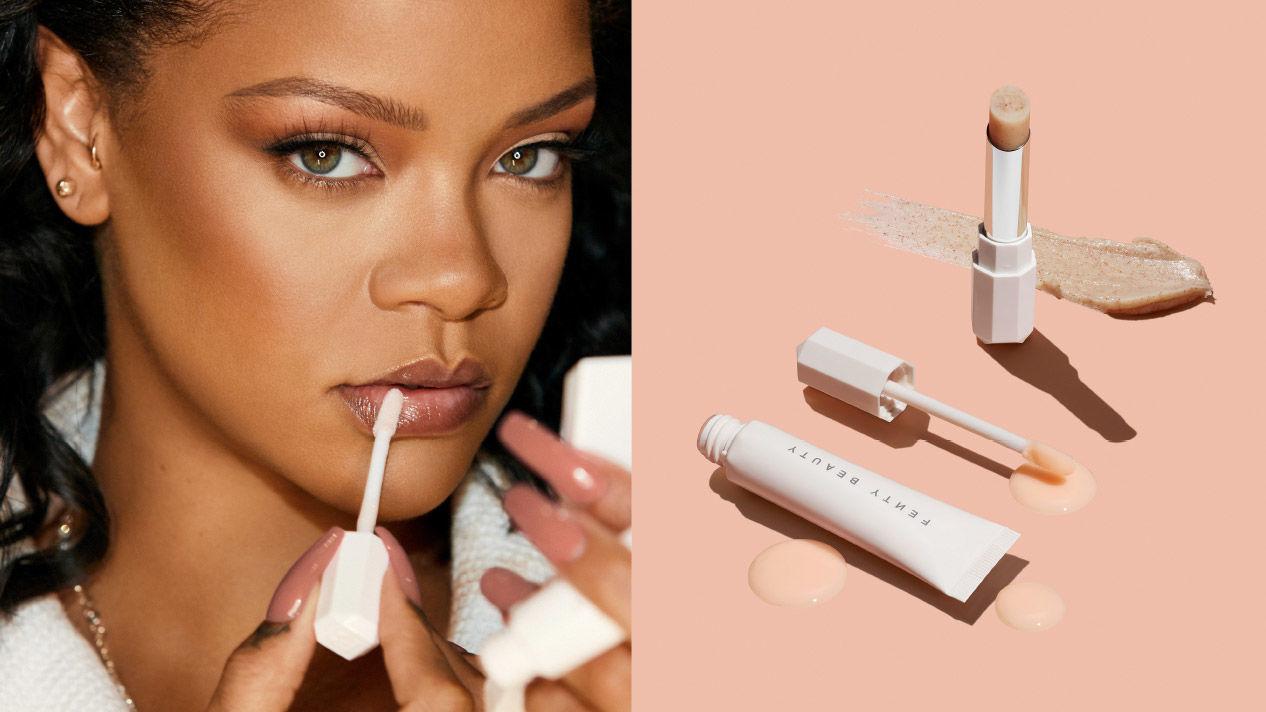An image of Rihanna applying makeup next to an image of Fenty Beauty cosmetics.
