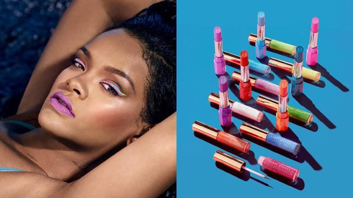 An image of Rihanna in colorful makeup next to an image of Fenty makeup products.