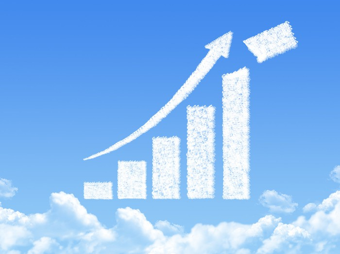 A chart showing a white upward arrow above white clouds in a blue sky.