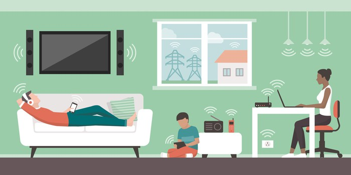 Animation of a family on electronic devices with cartoon wireless signals emanating from them.