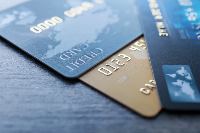 Close-up of credit cards