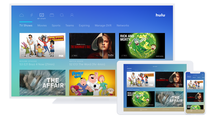 A screenshot of various programs offered on Hulu, showing on multiple devices.