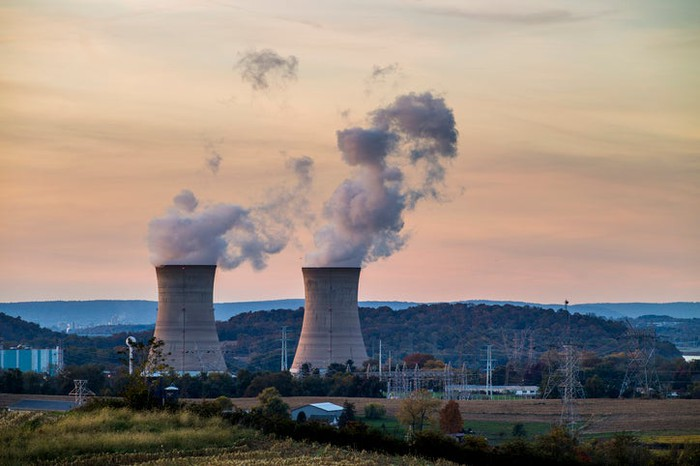 Cooling towers at the Three Mile Island nuclear-power plant.