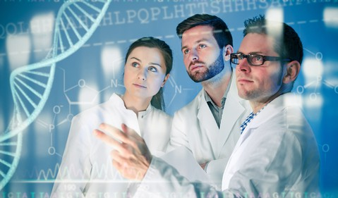 Scientists with DNA