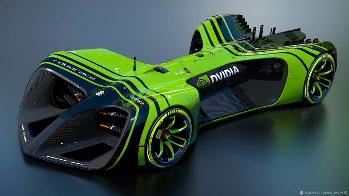 A futuristic race car, decked out in NVIDIA's logo and green-and-black stripes.