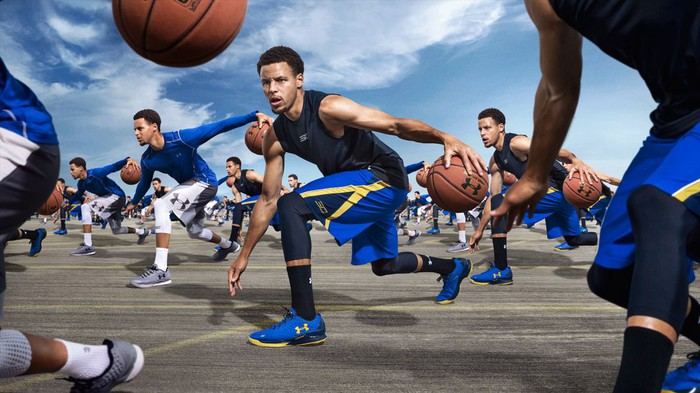 Multiple images of Steph Curry dribbling a basketball while wearing Under Armour shoes.