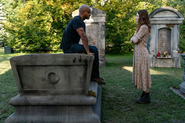 Shadow Moon (Ricky Whittle, left) and Laura Moon (Emily Browning, right) in a scene from Starz original series American Gods.