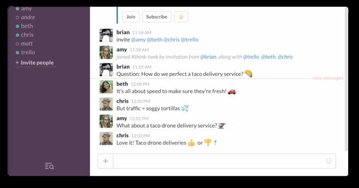 screen shot of people talking on screen via Slack