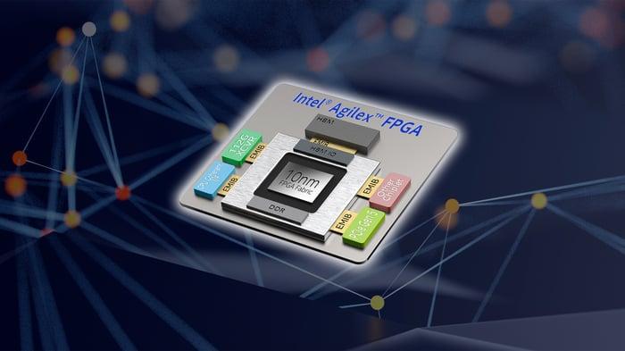 An up-close image of an Intel Agilex FPGA chip.