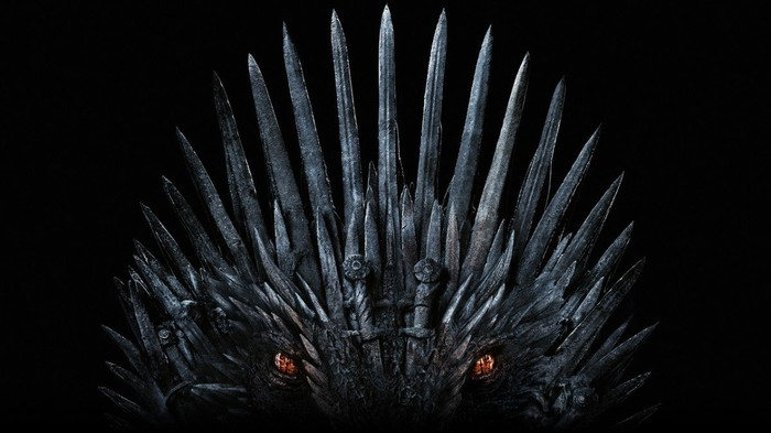 The Iron Throne with dragon eyes.