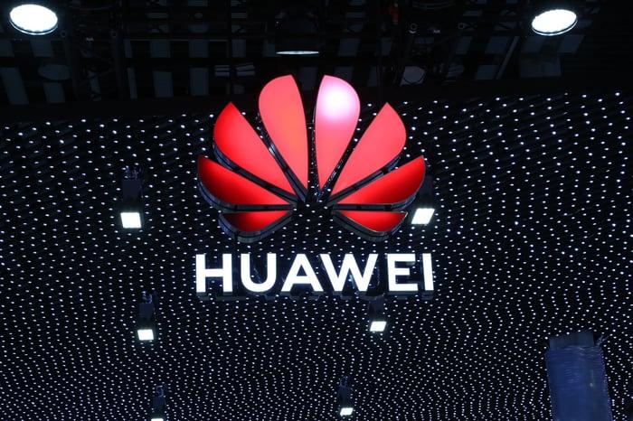 Huawei's logo at MWC 2019.