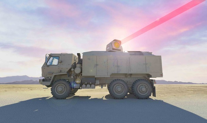 Artist's rendering of the Dynetics/Lockheed laser shooting from the top of an Army truck.