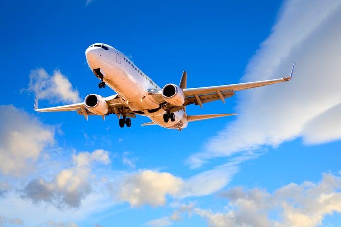 A plane in flight.