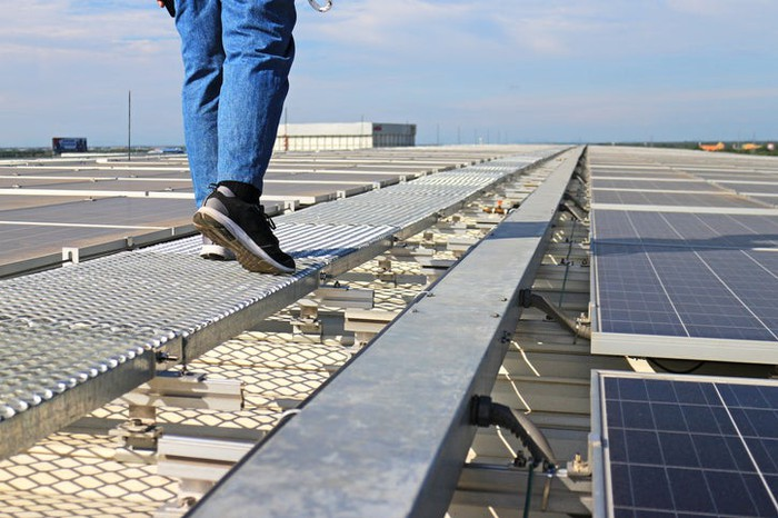 A person walking along a rooftop solar installation.