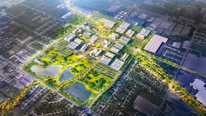 A rendering of an aerial view of Walmart's new headquarters in Arkansas