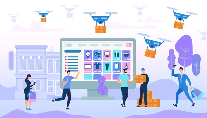 Vector illustration showing people ordering things online and having them delivered by drone.