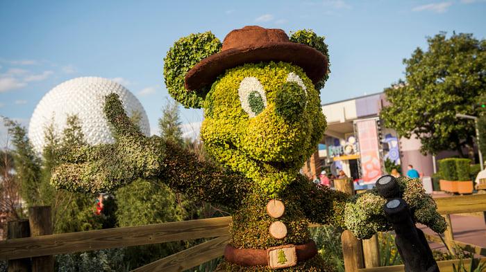 A Mickey Mouse garden sculpture at Disney World's Epcot.