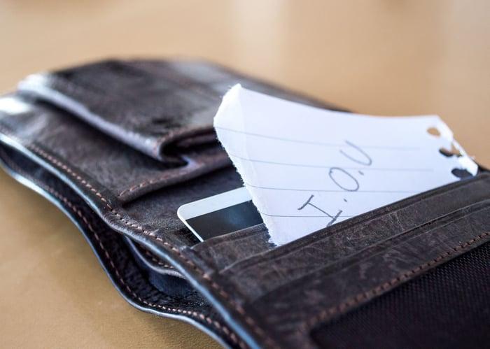 IOU paper in wallet