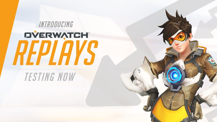 "Overwatch character on the right with ""Introducing Overwatch Replays Testing Now"" written on the left."