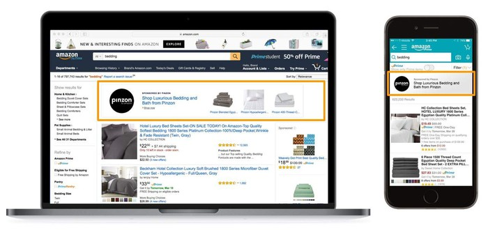 Screenshots on a laptop and smartphone highlighting banner ads in Amazon product search results.