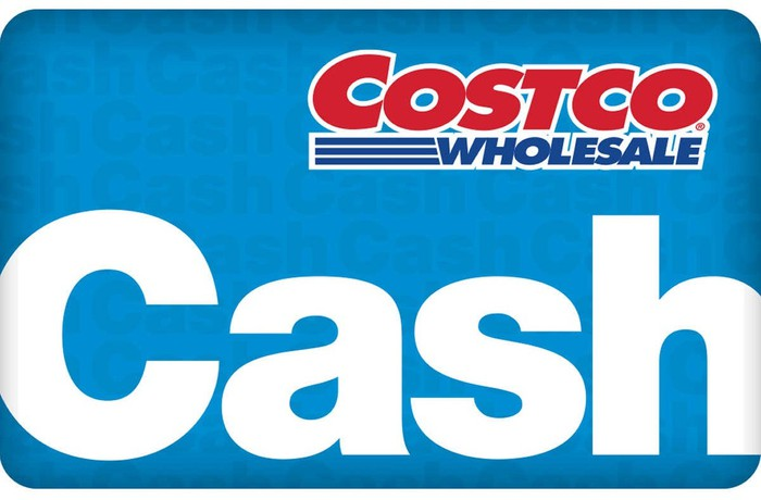 Costco cash card, in blue and white.