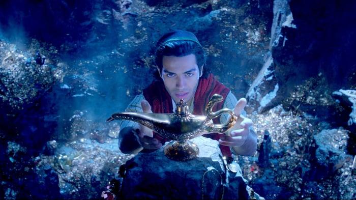 Screenshot from Disney's Aladdin, grabbing the lamp