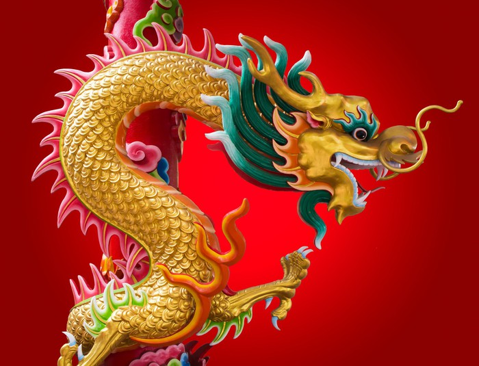 Chinese dragon looking right on red background