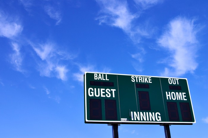 A baseball scoreboard, showing no scores for either team, against a mostly blue sky.