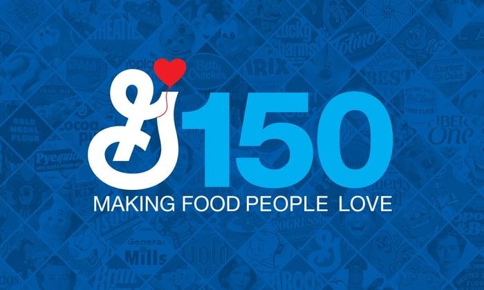 General Mills logo plus slogan celebrating 150th anniversary.