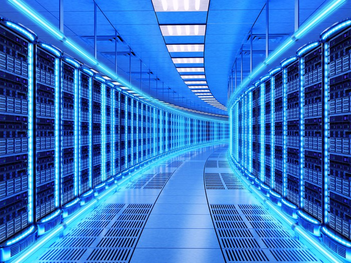 The hallway of a data center.