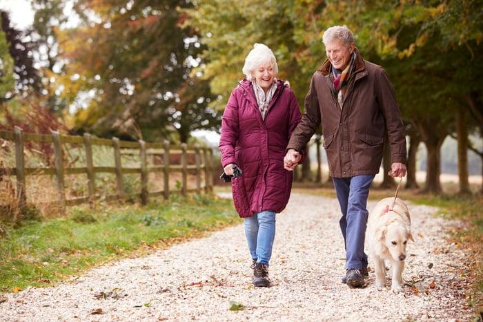 Senior couple in coats walking a dog outside.