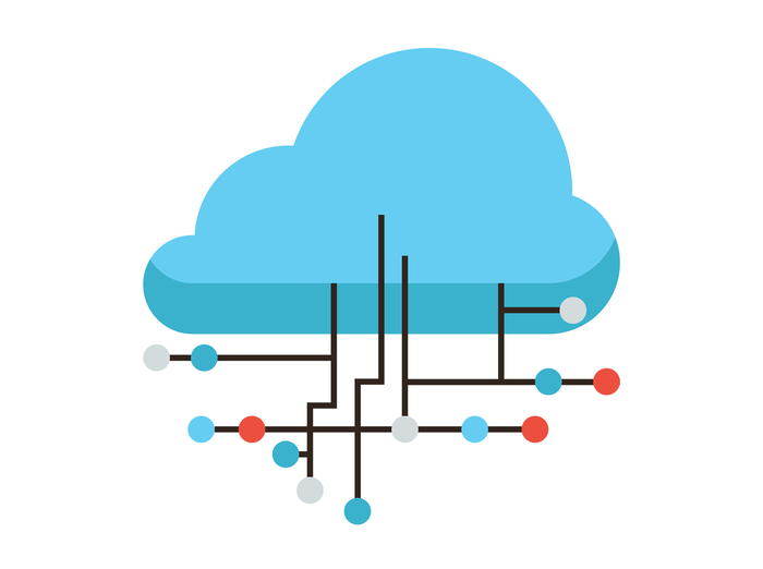 Illustration of a cloud computing concept: A blue cloud intersected by black lines representing network connections.