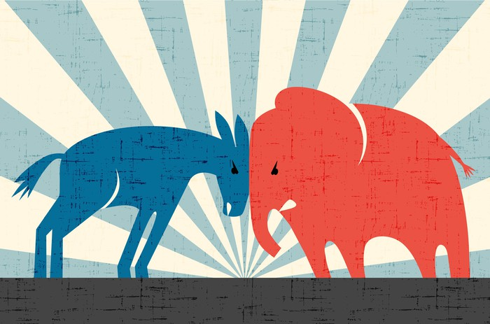 A blue Democratic donkey and red Republican elephant butting heads.