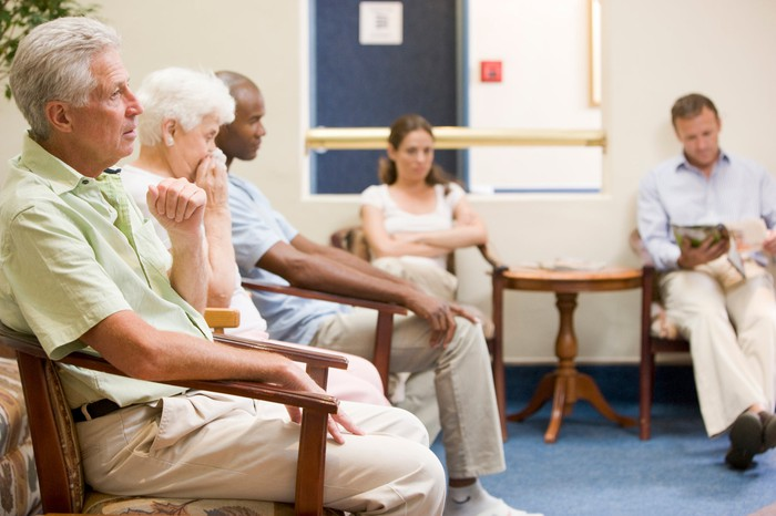 Group of people in a waiting room