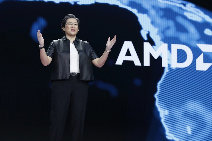 AMD CEO Lisa Su speaking on stage
