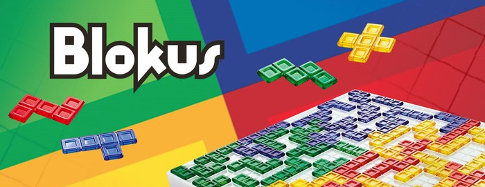 Blokus box design with colored pieces and game board.