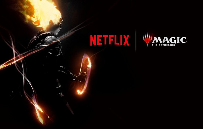 Banner for Netflix: Magic, the Gathering with the outline of a fire-wielding hero against a black backdrop.