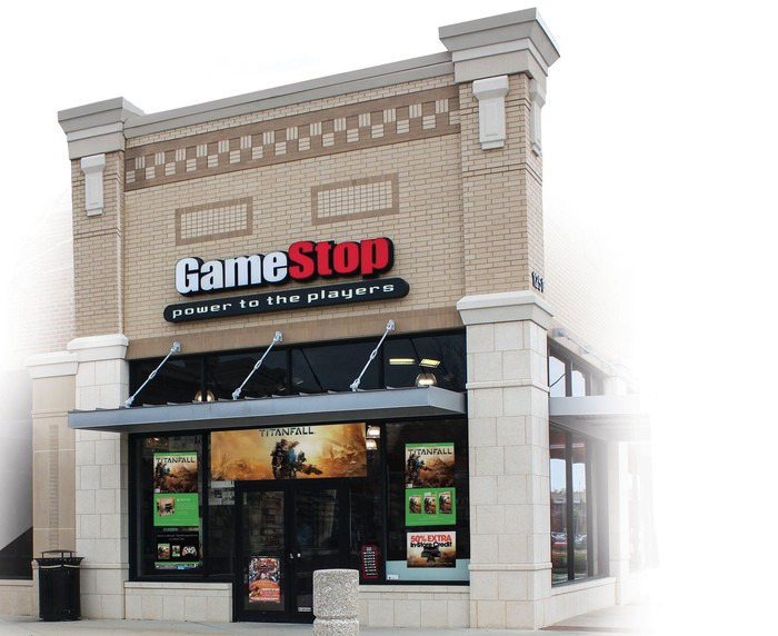 Standalone GameStop location as seen from outside.