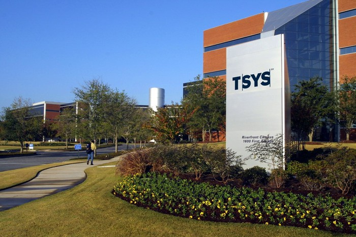 The sign displaying TSYS in front of the company's corporate headquarters in Georgia.