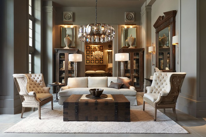 Contemporary room decorated with Restoration Hardware products.