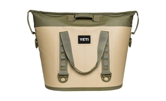 A Yeti cooler in khaki and light green.